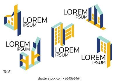Isometric logo set.Construction concept.