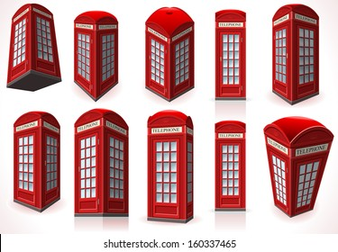 Isometric London telephone booth red Phone box isolated vector illustration. British cabin Telephone Isometric London Uk England Phone Isolated telephone booth box Vector 3D