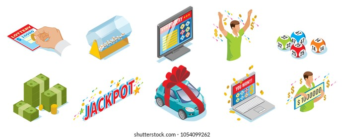 Isometric lottery icons set with ticket lotto drum money balls winner online gambling car jackpot inscription isolated vector illustration