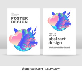 isometric love heart concept. Poster template
