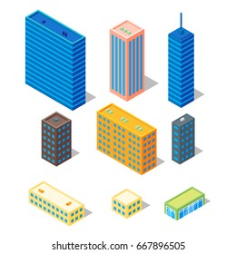 Isometric low poly 3d vector illustration of urban buildings. Icon for web. Isolated on white background.
