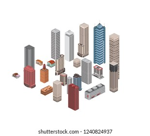 isometric low poly city buildings  infrastructure