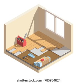 Isometric low poly home room renovation icon - vector illustration. Laying of laminate or parquet board. Tools and materials for room repair.