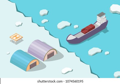Isometric low poly icebreaker with arctic ocean vector