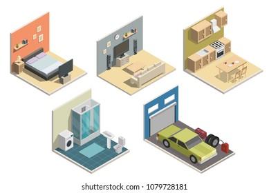 Isometric low poly interior vector illustration modern set of bathroom, kitchen, living room, bedroom, garage.