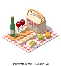 Isometric low poly picnic food set. Vector illustration