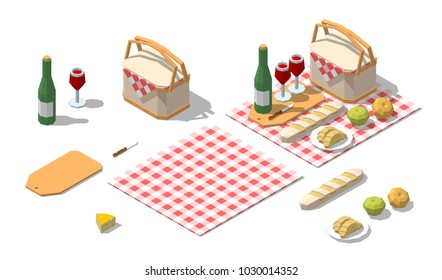 Isometric low poly picnic food set with basket, bottle wine, cheese, bread, knife, cloth. Vector illustration