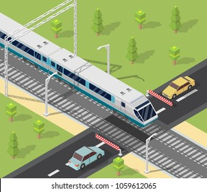 Isometric low poly train railroad and cars vector illustration background