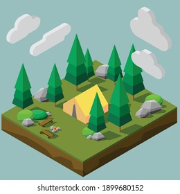 Isometric low polygon style of a camping site in a forest. Vector illustration EPS10.