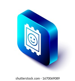 Isometric LSD acid mark icon isolated on white background. Acid narcotic. Postmark. Blue square button. Vector Illustration