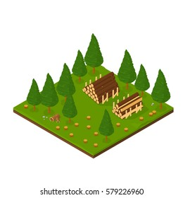 Isometric Lumber Industry Icon Vector illustration of a lumberyard with wood piles.