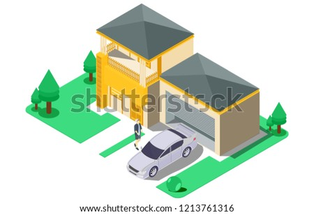 Isometric Luxury Home Car Parking Vector Stock Vector Royalty Free
