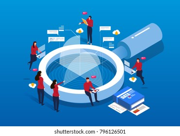 Isometric magnifying glass and Data Analysis