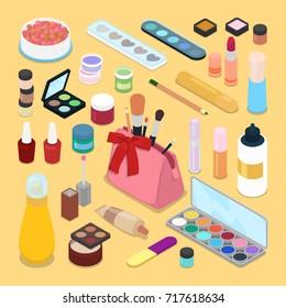 Isometric Make-up Cosmetics Products. Lipstick Mascara Nail Polish Brush. Vector flat 3d illustration