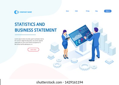 Isometric male in front of the big screen for data analysis. Statistics and business statement, Analytics dashboard, business analysis concept