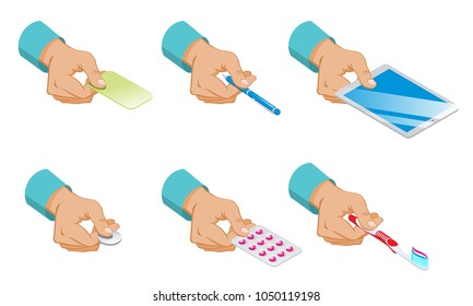 Isometric male hands hold set of card pen tablet coin pills and toothbrush isolated vector illustration