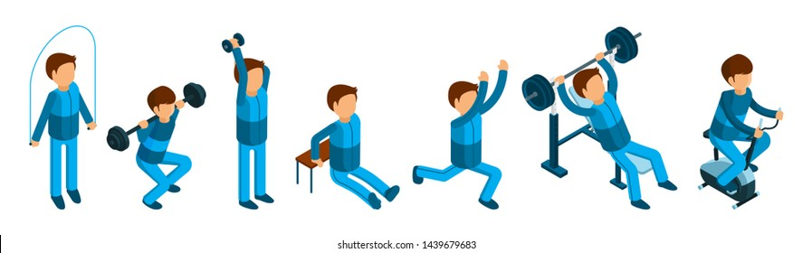 Isometric man doing sport exercises. Male fitness and gym characters isolated on white background. Doing fitnes and sport exercise, isometric people workout illustration