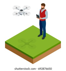 Isometric man with drone quadrocopter, Remote aerial drone with a camera taking photography or video recording game, isometrics businessman. On a light background. Vector illustration.