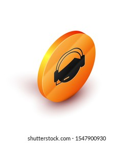 Isometric Man with a headset icon isolated on white background. Support operator in touch. Concept for call center, client support service. Orange circle button. Vector Illustration