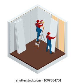 Isometric man installing drywall gypsum panels vector illustration. Construction building industry, new home, construction interior