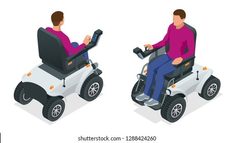 Isometric man on an electric wheelchair. New large motorized electric wheelchair. Mobile scooter.