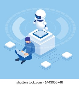 Isometric man programming of robot, settings artificial intelligence.
