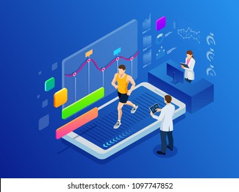 Isometric man running on a smartphone treadmill and exercising fitness app and sports under the supervision of doctors. Cardio control digital mobility exercise athlete. Health and longevity.
