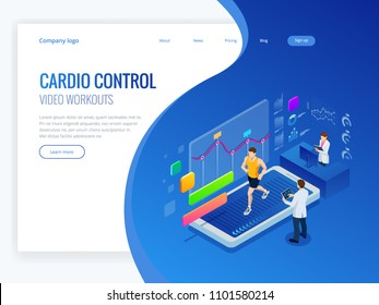 Isometric man running on a smartphone treadmill and exercising fitness app and sports under the supervision of doctors. Cardio control digital mobility exercise athlete. Health and longevity