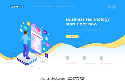 Isometric Man Using Smartphone, touchscreen. Project Manager Researching Process. Innovation Graphs Interface. Landing page template.