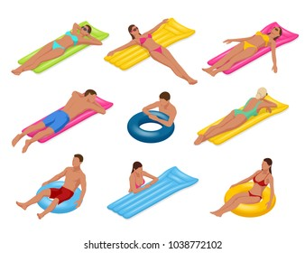 Isometric man and woman on Floating air mattress. Vector illustration. Enjoying suntan. Travel, holidays, youth and friendship concept