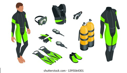 Isometric mans Scuba gear and accessories. Equipment for diving. IDiver wetsuit, scuba mask, snorkel, fins, regulator dive icons Underwater activity diving equipment and accessories Underwater sport