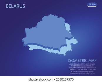 Isometric map of Belarus. Vector modern on blue background. Isolated 3D isometric concept for infographic. Vector illustration. EPS 10.
