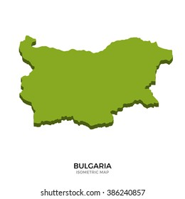 Isometric map of Bulgaria detailed vector illustration. Isolated 3D isometric country concept for infographic