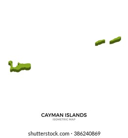 Isometric map of Cayman Islands detailed vector illustration. Isolated 3D isometric country concept for infographic