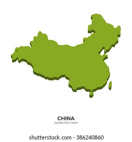 Isometric map of China detailed vector illustration. Isolated 3D isometric country concept for infographic