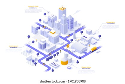 Isometric map of city downtown or business district, industrial zone and suburban area with paper white buildings, houses and skyscrapers. Modern infographic design template. Vector illustration.