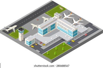 Isometric map of the city's airport, the trees and the flight of construction and building, terminal, planes and cars vector illustration.