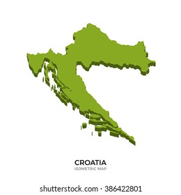 Isometric map of Croatia detailed vector illustration. Isolated 3D isometric country concept for infographic