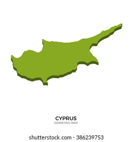 Isometric map of Cyprus detailed vector illustration. Isolated 3D isometric country concept for infographic
