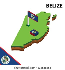 Isometric map and flag of Belize. 3D isometric Vector Illustration