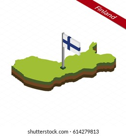 Isometric map and flag of Finland. 3D isometric shape of Finland. Vector Illustration.