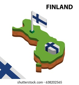 Isometric map and flag of FINLAND. 3D isometric Vector Illustration