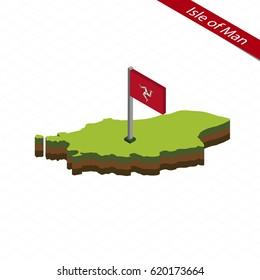 Isometric map and flag of Isle of Man. 3D isometric shape of Isle of Man. Vector Illustration.
