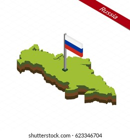 Isometric map and flag of Russia. 3D isometric shape of Russia. Vector Illustration.