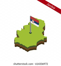 Isometric map and flag of Serbia. 3D isometric shape of Serbia. Vector Illustration.