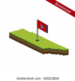 Isometric map and flag of Tennessee. 3D isometric shape of Tennessee State. Vector Illustration.