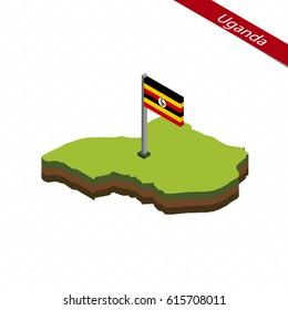 Isometric map and flag of Uganda. 3D isometric shape of Uganda. Vector Illustration.