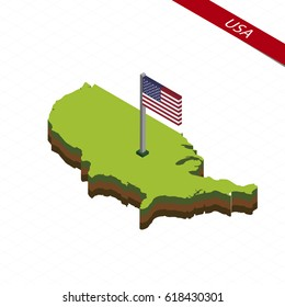 Isometric map and flag of USA. 3D isometric shape of United States of America. Vector Illustration.