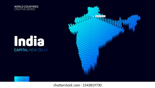 Isometric map of India with blue hexagon lines