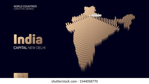Isometric map of India with golden hexagon lines